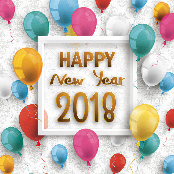 Colored Balloons Frame Happy New Year 2018 Ornaments Wallpaper Stock photo © limbi007