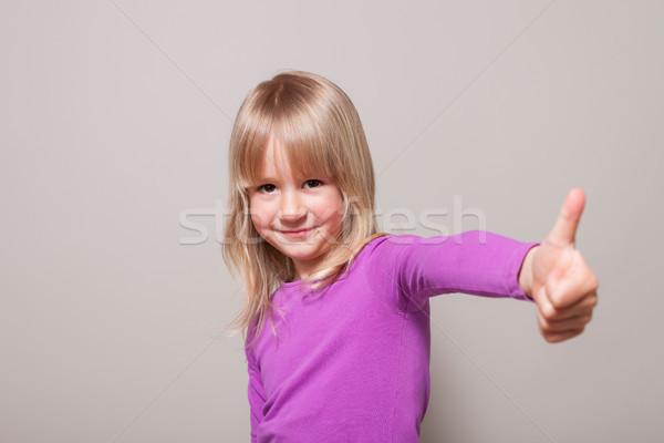 Thumbs Up Blond Hair Girl Stock photo © limbi007