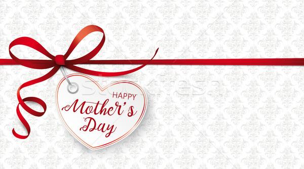 Red Ribbon Ornaments Heart Mothersday Stock photo © limbi007