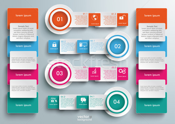 Four Colored Banners Batched Rectangles Big Infographic Stock photo © limbi007