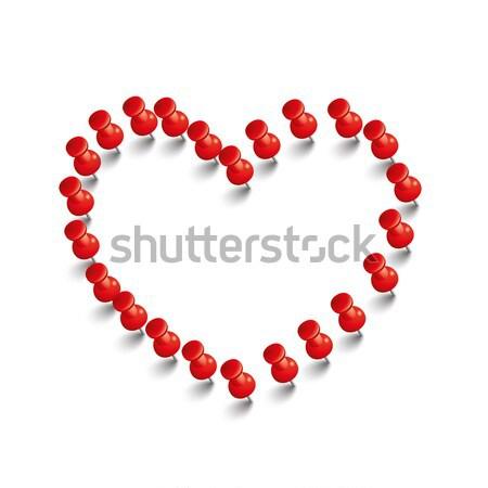 Vermelho coração branco eps 10 vetor Foto stock © limbi007