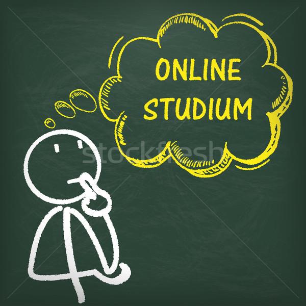 Blackboard Stickman Thinking Online Studium Stock photo © limbi007
