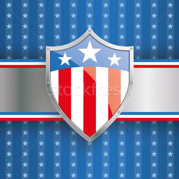 US Flag Protection Shield Banner Stripes Stock photo © limbi007