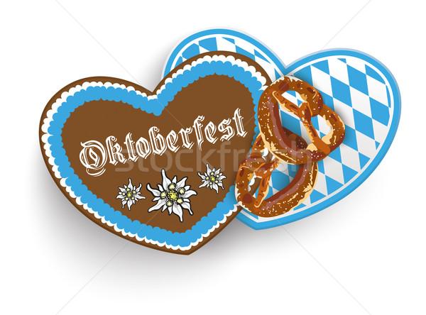 Oktoberfest 2 Hearts Pretzel Stock photo © limbi007