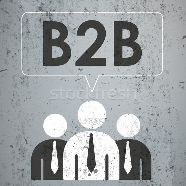 бизнесменов речи пузырь конкретные b2b текста прибыль на акцию Сток-фото © limbi007