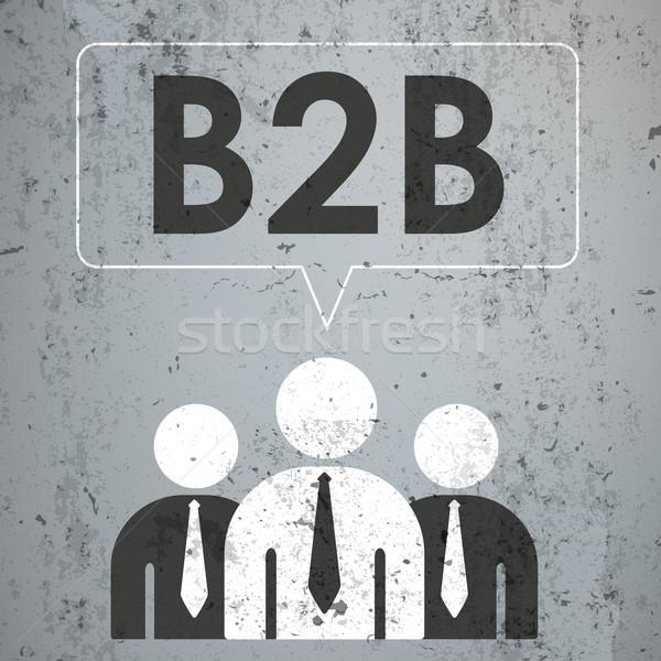 3 Businessmen Speech Bubble Concrete b2b Stock photo © limbi007