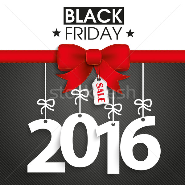 Red Ribbon Black Friday Price Sticker 2016 Stock photo © limbi007