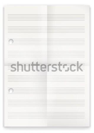 Fehér összehajtva hangjegyek papír zene eps Stock fotó © limbi007