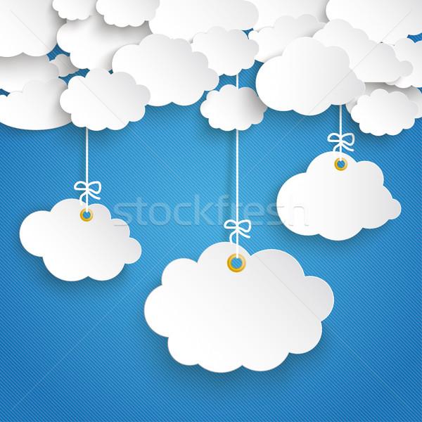 Papel nuvens listrado blue sky nuvem adesivos Foto stock © limbi007