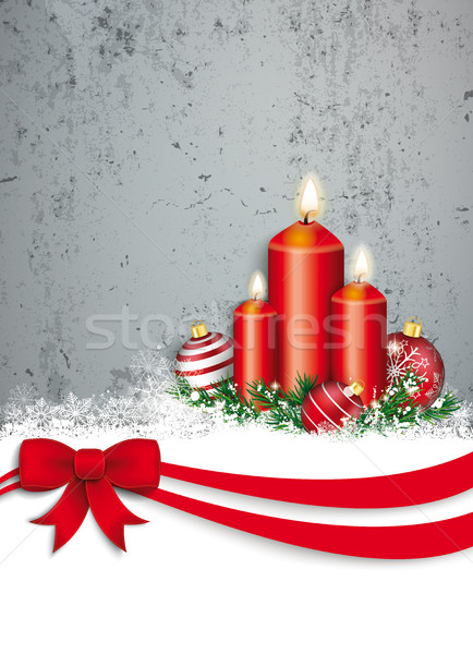 Upright Christmas Red Ribbon Candles Flyer Concrete Stock photo © limbi007