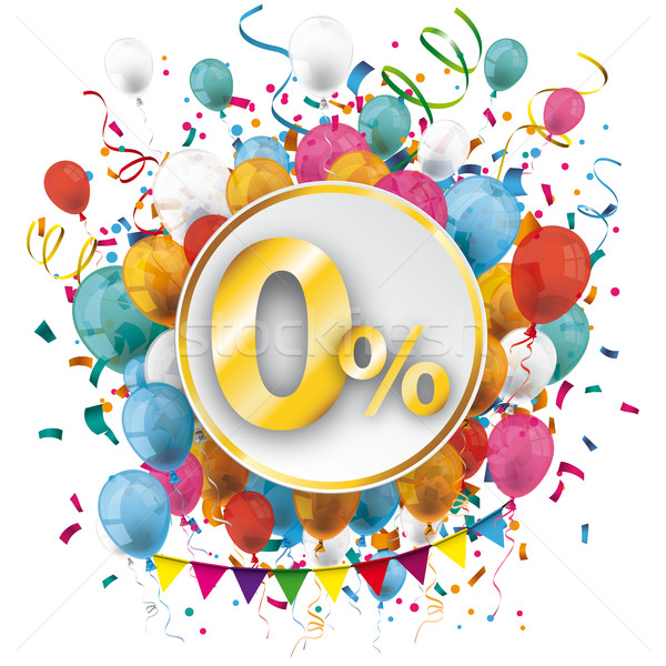 Golden Paper Circle Balloons Confetti 0 Percent Stock photo © limbi007