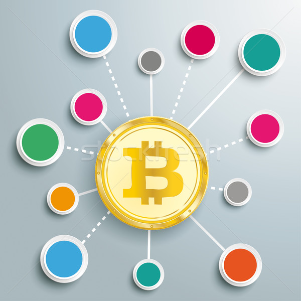 Stock photo: Golden Bitcoin Circles Network Infographic