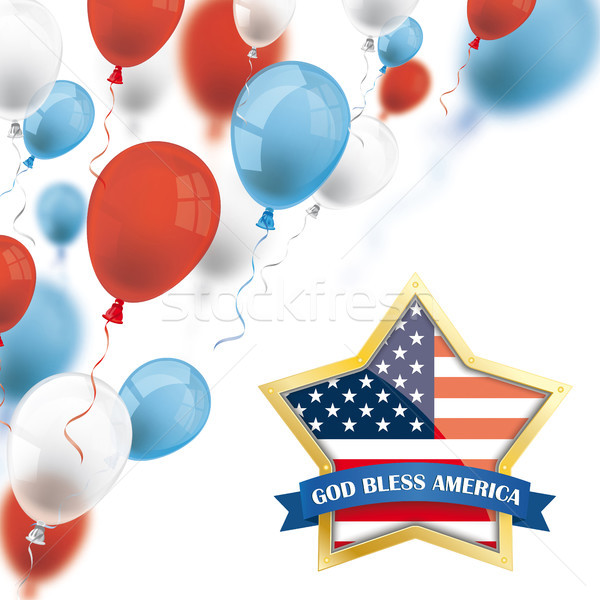 God Bless America Golden Star Colored Balloons Stock photo © limbi007