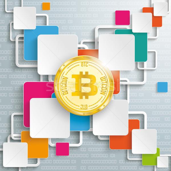 Rectangles Squares Cross Bitcoin Coin Data Stock photo © limbi007