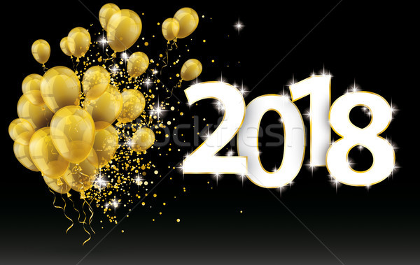 Golden Balloons 2018 Particles Confetti Black Background Stock photo © limbi007