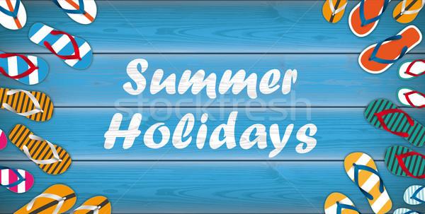 Summer Holidays Flip-Flops Wooden Background Centre Header Stock photo © limbi007