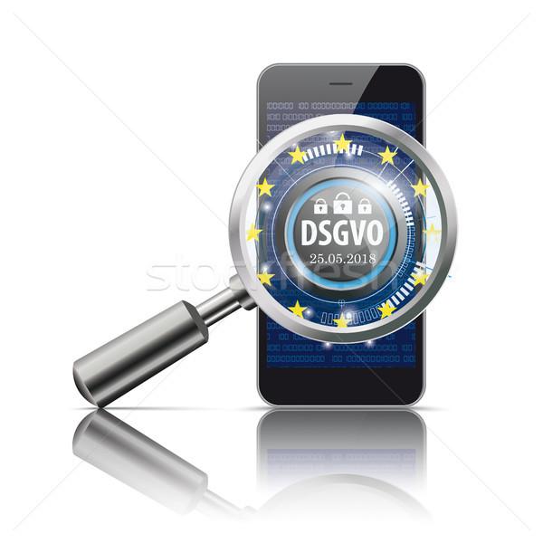 Black Smartphone Loupe DSGVO Stock photo © limbi007