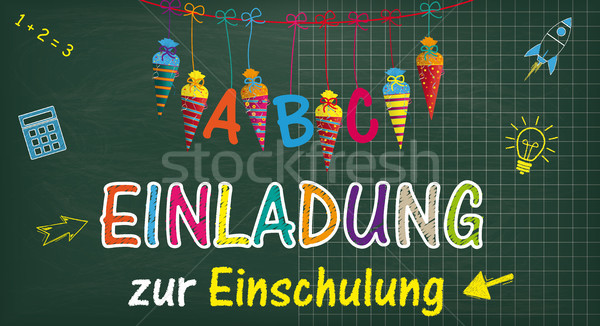 Long Blackboard Balloons Candy Cones Einladung Einschulung Stock photo © limbi007