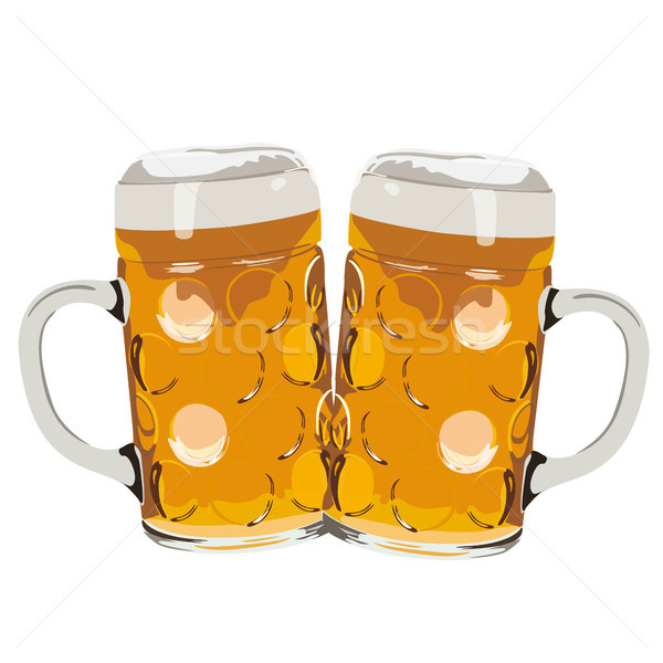 Two Beer Glasses White Background Stock photo © limbi007
