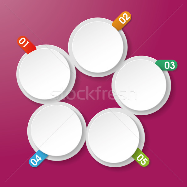 Five Info Labels With Numbers Circle Rectangle Purple Background Stock photo © limbi007