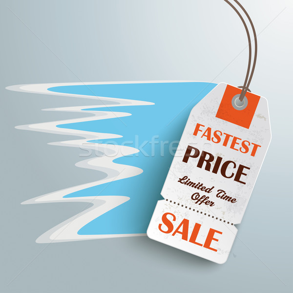 White Fastest Price Sticker Silver Background Stock photo © limbi007
