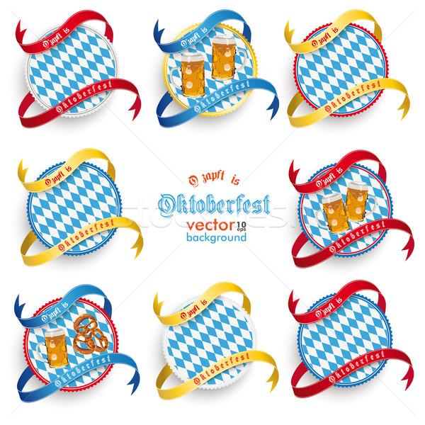 Munich Oktoberfest Round Prongs Emblems Set Stock photo © limbi007