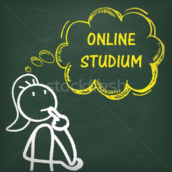 Blackboard Stickwoman Thinking Online Studium Stock photo © limbi007