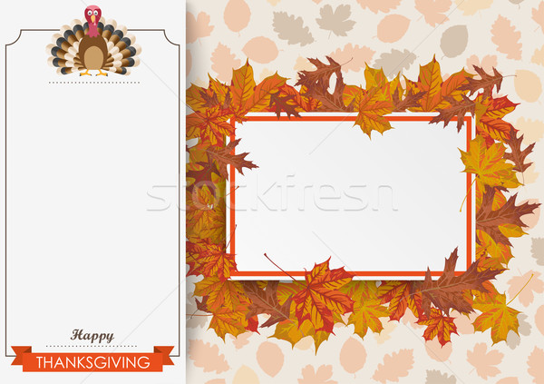 Oblong Banner Foliage Thanksgiving Turkey Paperboard Stock photo © limbi007