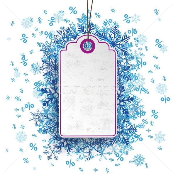 Price Sticker Blue Snowflakes Percents Stock photo © limbi007