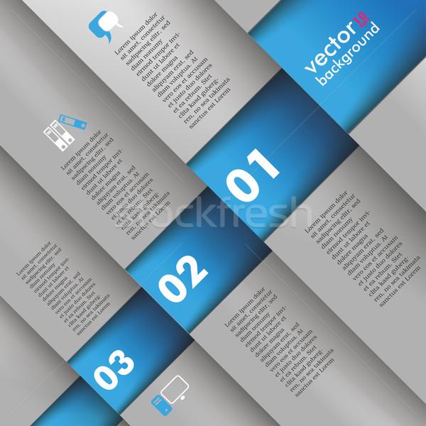 Template Design 5 Options Depth Bevel Blue Gray Stock photo © limbi007