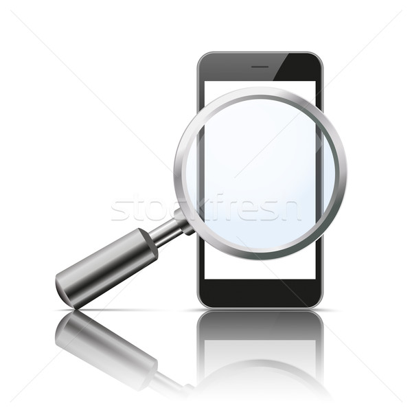 Black Smartphone Loupe Mirror Mockup Stock photo © limbi007