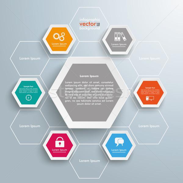 Hexagon Honeycomb Structure Infographic Stock photo © limbi007