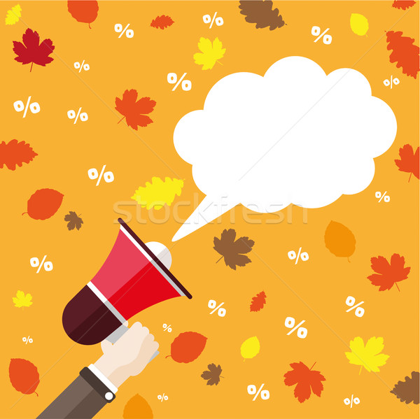 Flat Hand Bullhorn Speech Bubble Fall Foliage Percents Stock photo © limbi007