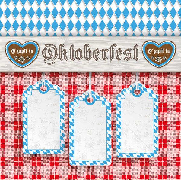 Stock photo: Oktoberfest 3 Price Stickerss Wooden Wooden Banner Red Blanket H