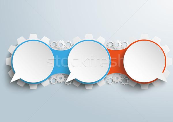 Speech Bubble Gears Chain 3 Options Opposing View Stock photo © limbi007