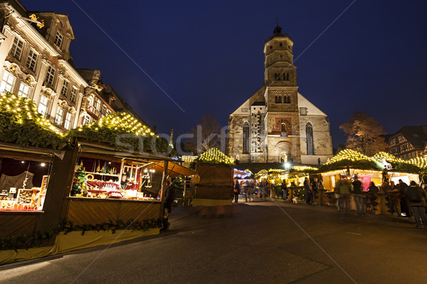 Weihnachtsmarkt Schwaebisch Hall Gothic Church Stock photo © limbi007