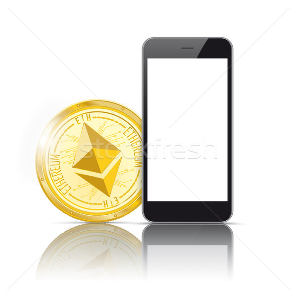Black Smartphone Golden Ethereum Mirror Mockup Stock photo © limbi007