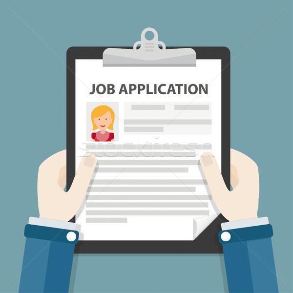 Hands Clipboard Job Application Woman Stock photo © limbi007