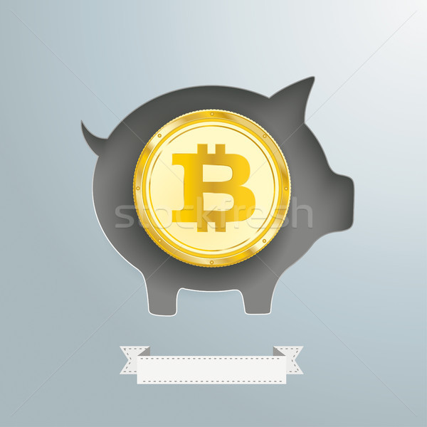 Piggy Bank Golden Bitcoin Coin Stock photo © limbi007