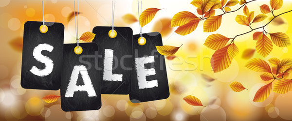 Autumn Black Price Stickers Sale Beech Foliage Header Stock photo © limbi007