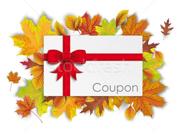 Coupon Card Autumn Foliage Stock photo © limbi007