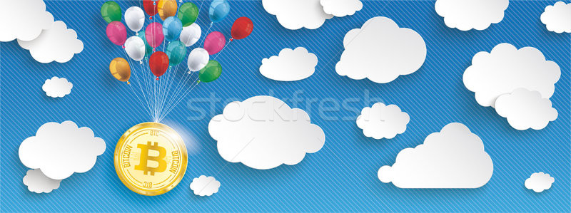 Paper Clouds Striped Blue Sky Balloons Bitcoin Header Stock photo © limbi007