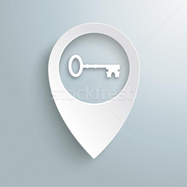 Beyaz konum işaretleyici anahtar gri eps Stok fotoğraf © limbi007