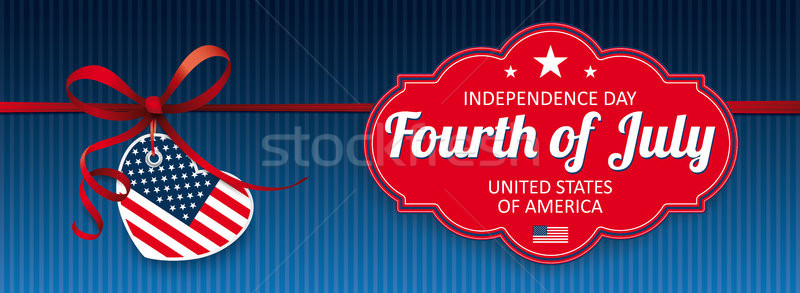 Red Ribbon USA Heart Classic Label Independence Day Stock photo © limbi007