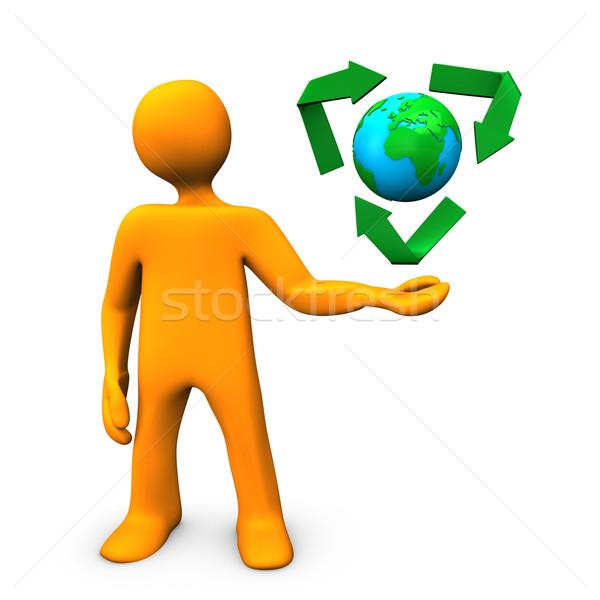Ecologia laranja verde símbolo globo Foto stock © limbi007