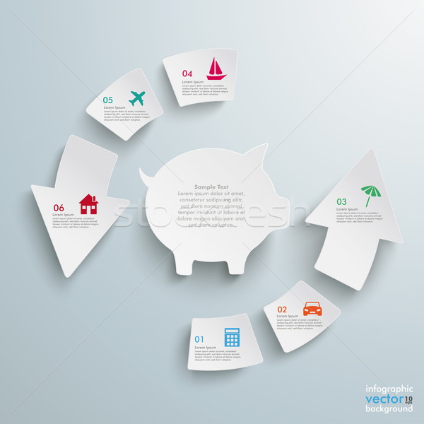 Success Arrow 6 Pieces Cycle Piggy Bank Stock photo © limbi007