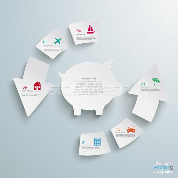 успех стрелка частей цикл Piggy Bank белый Сток-фото © limbi007