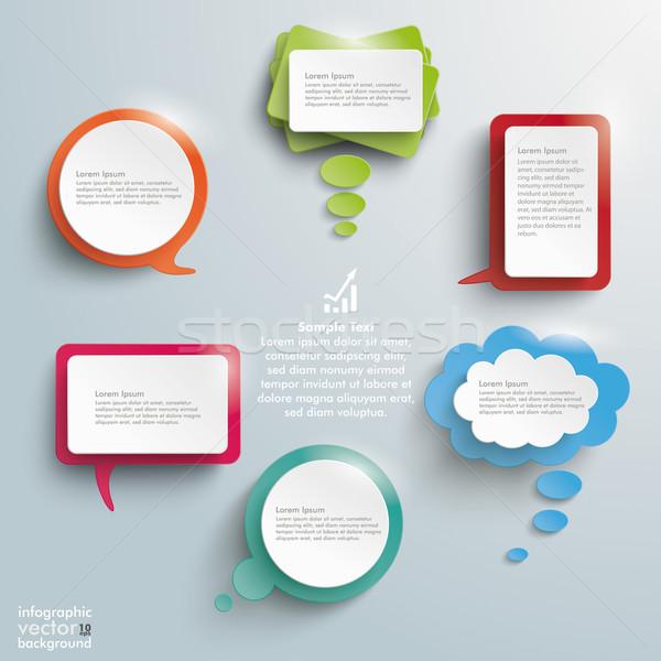 Stock fotó: Színes · fényes · kommunikáció · buborékok · infografika · terv