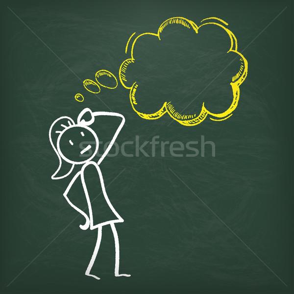 Pizarra burbuja de pensamiento femenino eps 10 vector Foto stock © limbi007