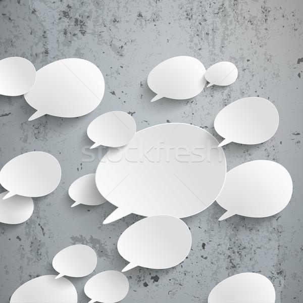Bevel Speech Bubbles Infographic Concrete Stock photo © limbi007